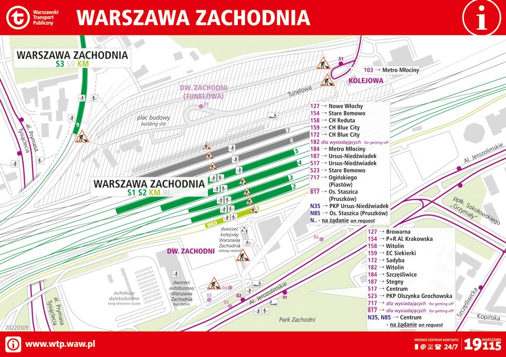 Arrangement of stops in the area of Warszawa Zachodnia railway station