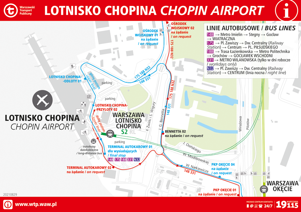 Stop locations at the Chopin Airport