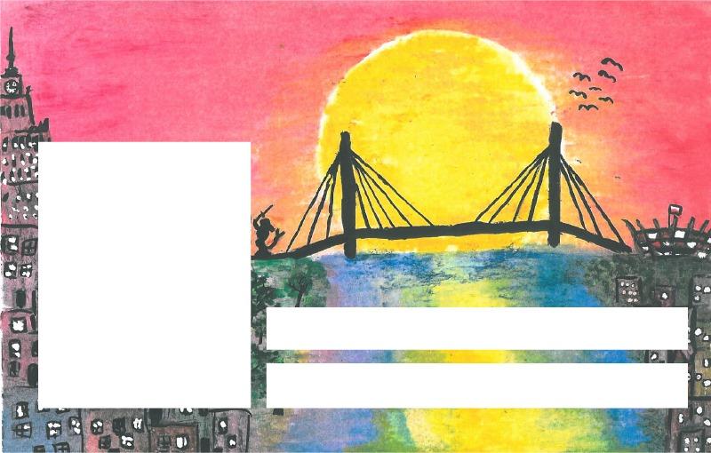 Wzór Karty Ucznia. Ilustracja przenosi widza nad Wisłę w czasie pięknego zachodu słońca, w okolice pomnika Syreny i mostu Świętokrzyskiego.