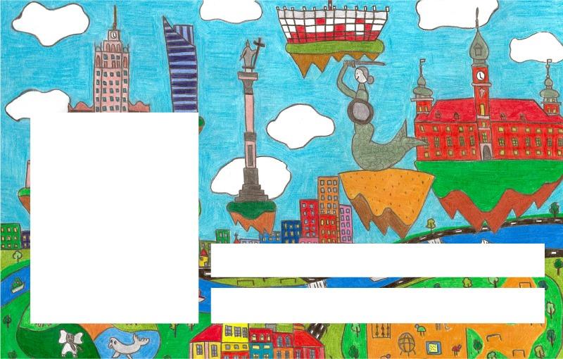 Wzór Karty Ucznia. Ilustracja ukazuje znane miejsca i zabytki, stanowiące wizytówki stolicy.