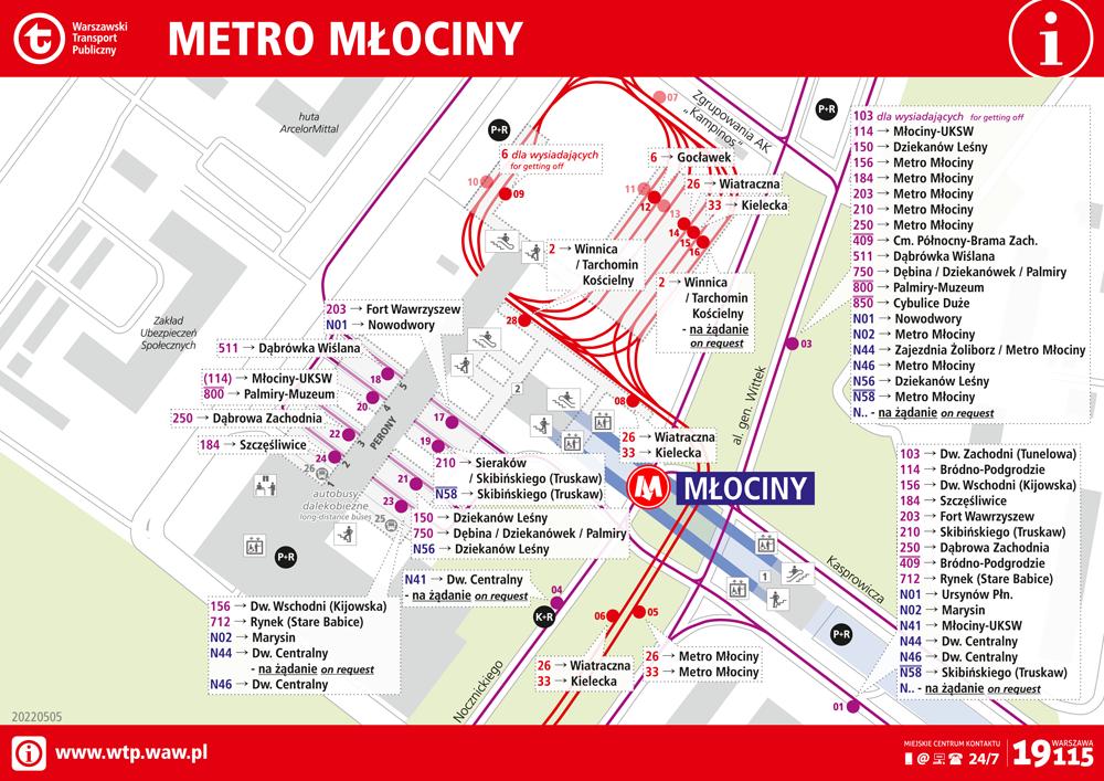 schemat węzła komunikacyjnego Metro Młociny
