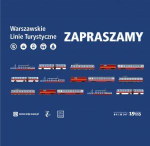 """Plakat 13-go sezonu Warszawskich Linii Turystycznych z napisem """"Warszawskie Linie Turystyczne - Zapraszamy"""""""