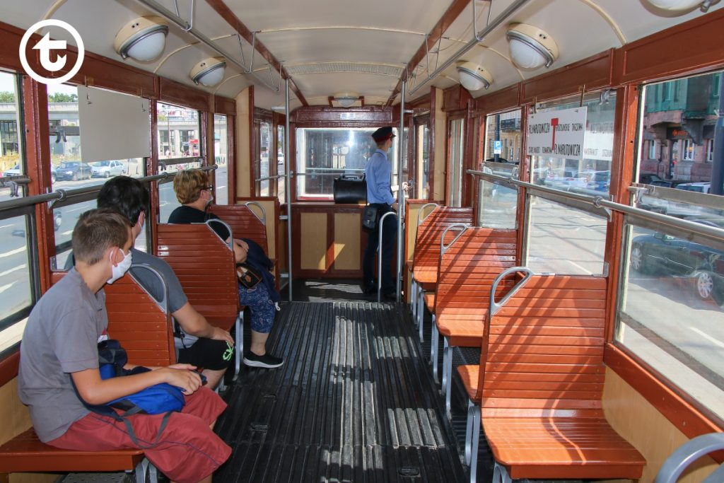 Interior of a vintage tram on route T