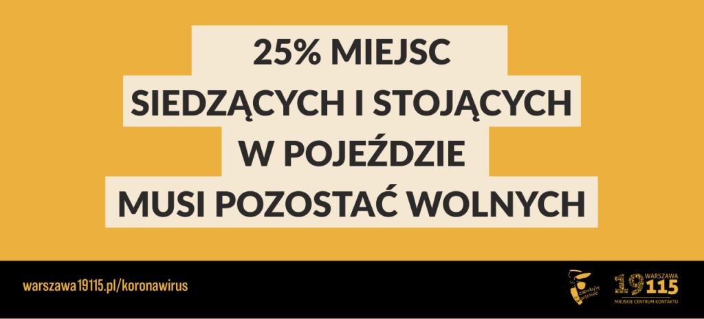 Grafika - na żółtym tle napis: 25% miejsc siedzących i stojących w pojeździe musi pozostać wolnych