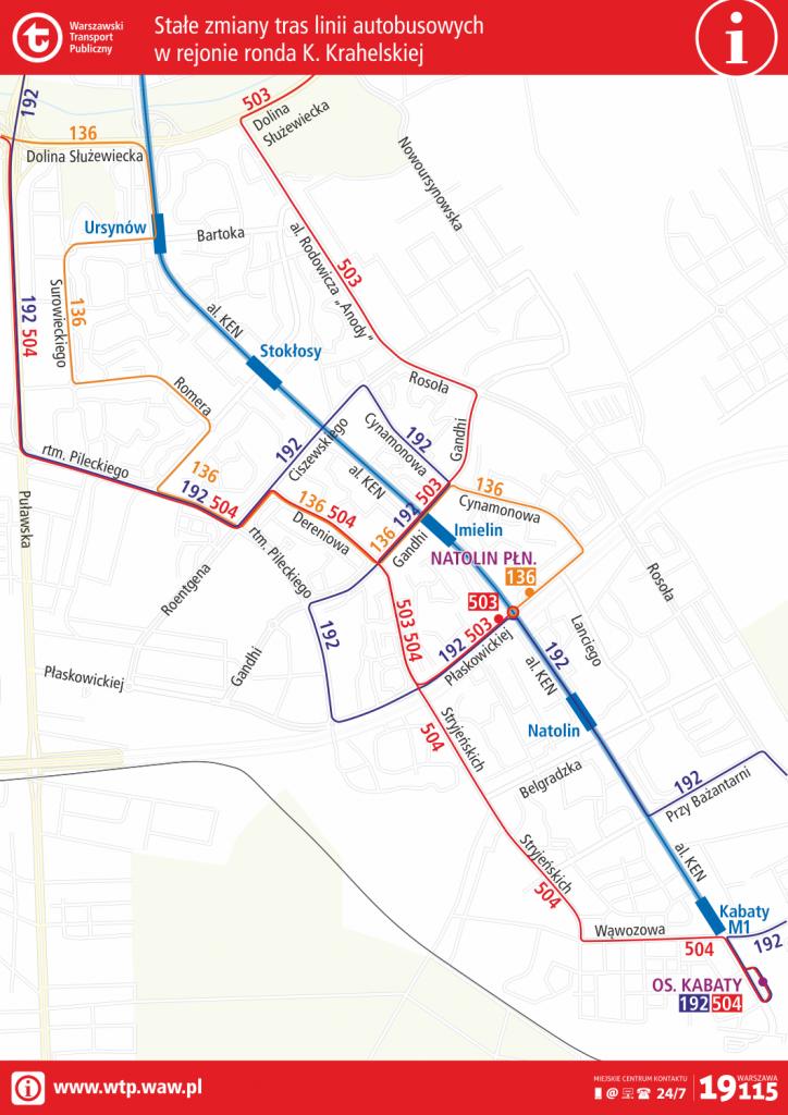 schemat - stałe zmiany tras linii autobusowych w rejonie ronda K. Krahelskiej