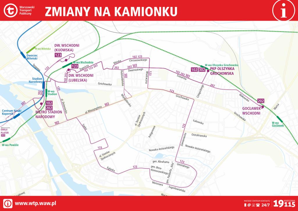Zmiany tras linii autobusowych na Kamionku